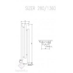 Grzejnik dekoracyjny Sizer - rysunek techniczny